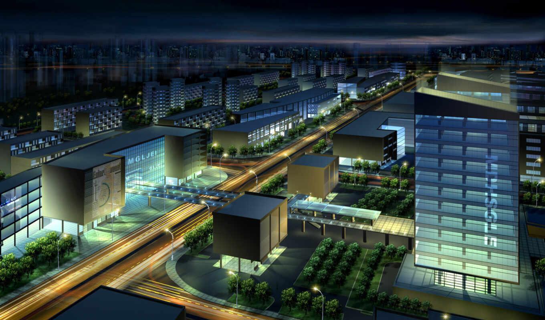 город, architectural, взгляд, ночь