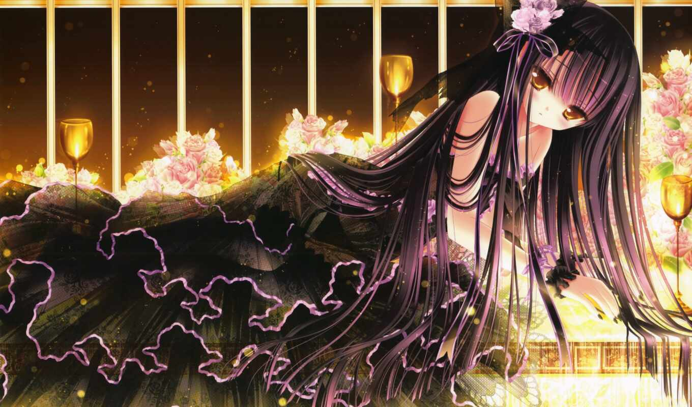anime, dress, black, hair, loli, image, manga, fashion, tinkle, through, see, site, lolita, board, setsuna, harukaze, goth, version, larger, flowers, name, long, desktops, unrestricted, unlimited, dow