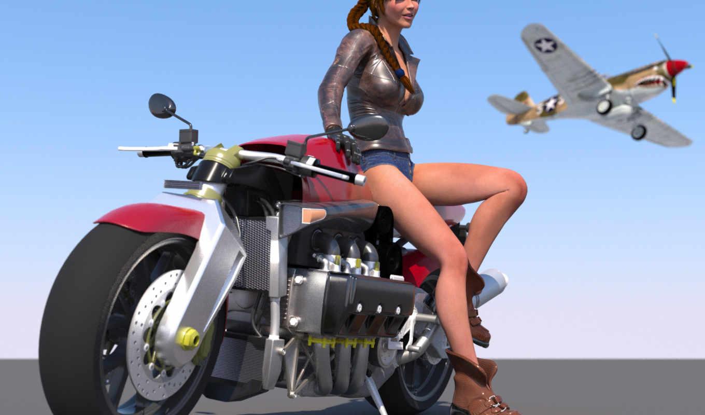 девушка, самолёт, мотоцикл, rendering, art, небе,