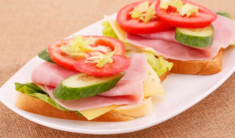 slices, lunch, ветчина, огурец, сыр, еда,