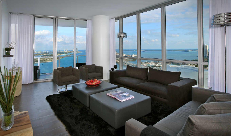 окна, взгляд, город, интерьер, квартира, комната, kitchen,