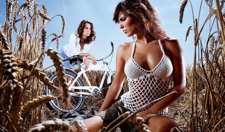 devushki, велосипед,