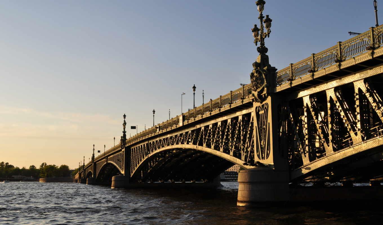 петербург, санкт, питер, река, мост, cityscapes,