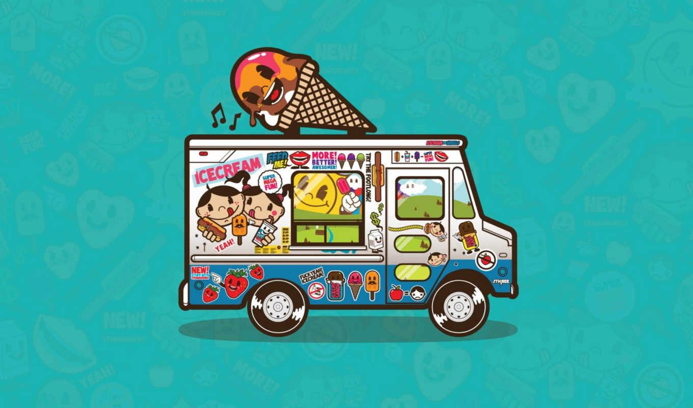 art, картинку, широкоформатные, вектор, graphics, los, super, fun, ice, мороженое, concepts, mega, фургон, helados, camión,