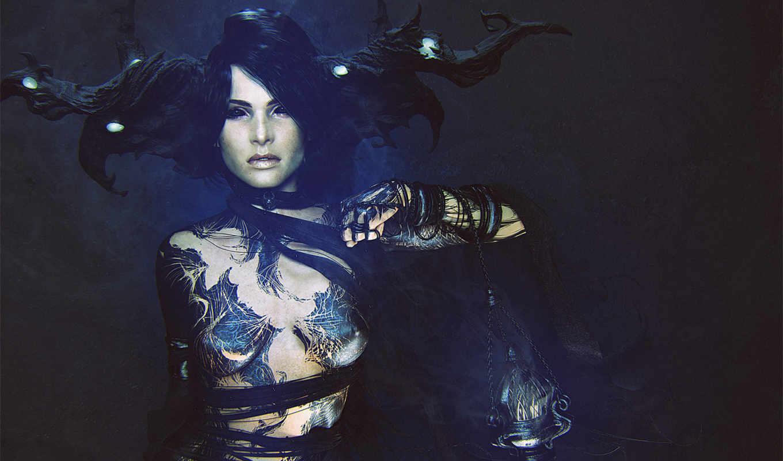 девушка, рога, татуировки, дым, лампа, украшения, девушек,