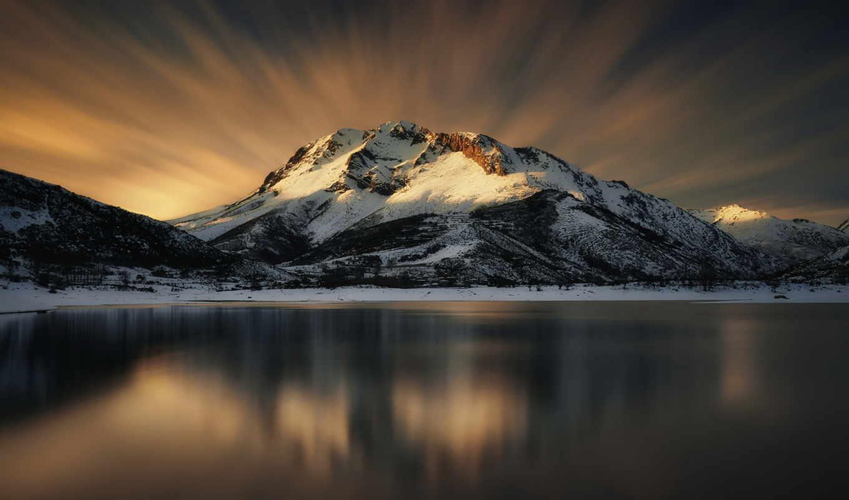 iphone, озеро, горы, небо, гора, winter, ipad,