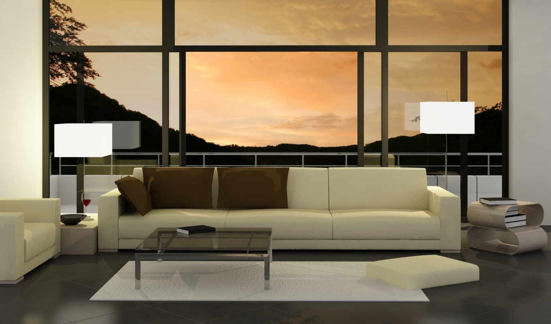 ,диван,горы,окно,столик,лампы,