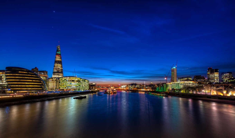 london, англия, город, ночь, здания, картинка, река, установить, smartphone,
