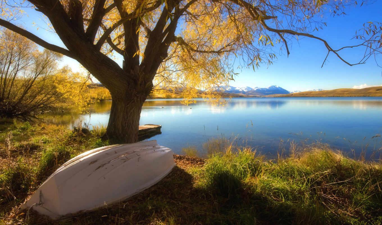 осень, лодка, full, природа, дерево,