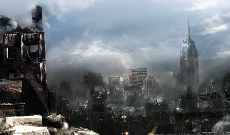 уничтожение, fantasy, конец, город, sveta, land, рисунки, огонь,