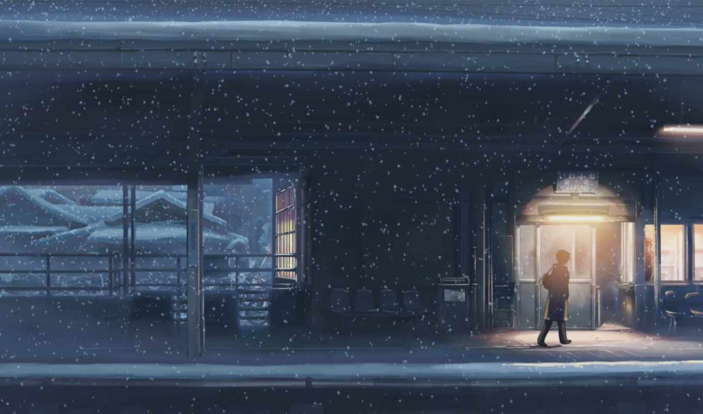 5 сантиметров на рабочий стол, обои anime, снег