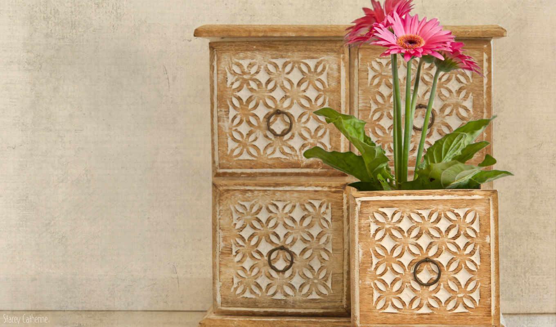 шкафчик, ящик, цветы, розовые, герберы,