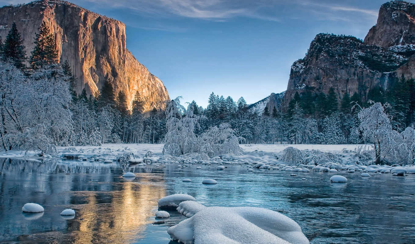 yosemite, park, winter, national, day, природа,