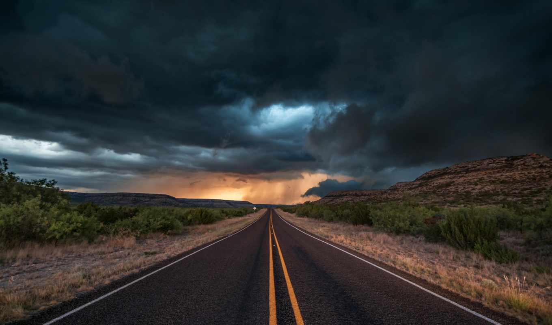 texas, дорога, сша, тучи, state, вечер, пейзажи -, буря, облака,