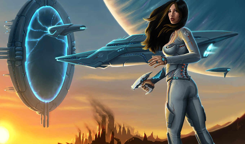 фантастика, корабль, девушка, космос, телепорт, корабли,