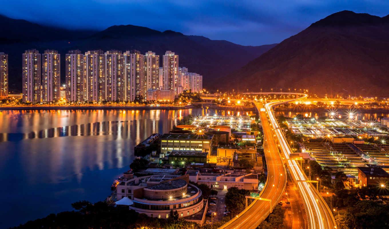 город, china, ночь, kong, hong, горы, sha, города, категории,