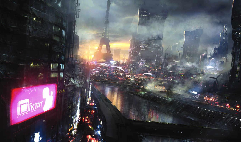 город, фантастика, будущее, cyberpunk, art, ночь,