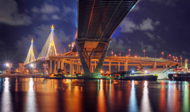 таиланд, мост, bangkok, огни, город, ночь,