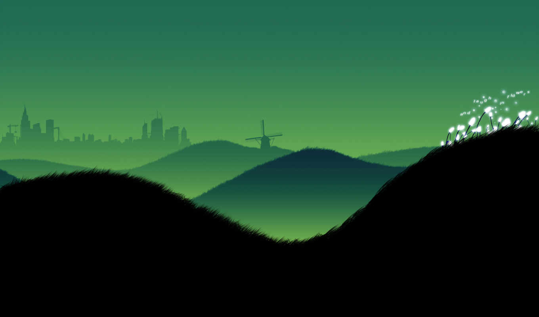 минимализм, вечер, небо, красота, пейзажи, холмы, hills, картинка,
