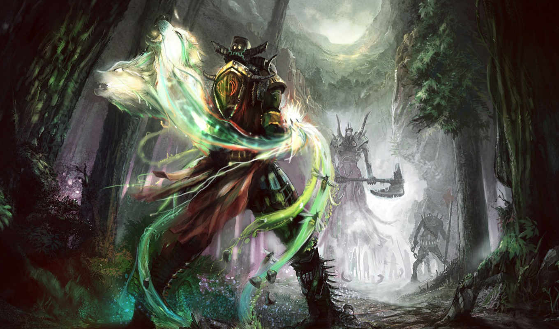 лес, волки, вызов, дух, воин, пчела, ночь, поединок, камни, земля, секира, картинка, картинку, маг, нежить, битва, кнопкой, схватка,