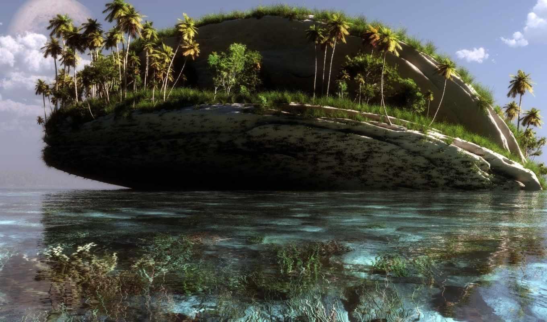 море, пальмы, остров, water, art, природа, klontak,