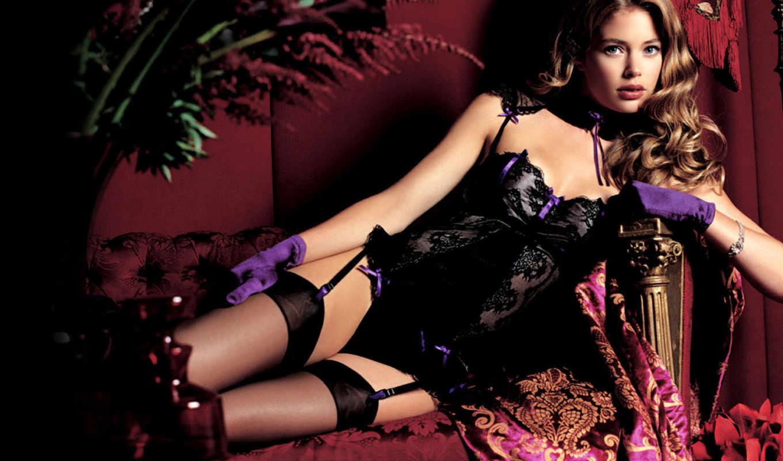 белье, нижнее, doutzen, kroes, чулки, но, модель, lingerie,