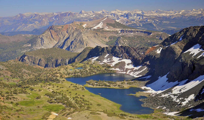 wilderness, ansel, adams, озеро, взгляд, peak, горы, landscape, сверху,