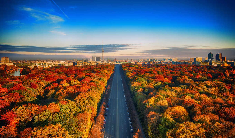 город, осень, лес, дорога, сквозь, желтые, rays, листва,, осенние,