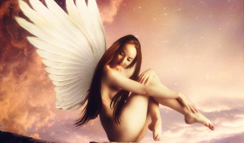 небо, крылья, поза, девушка, ангел,