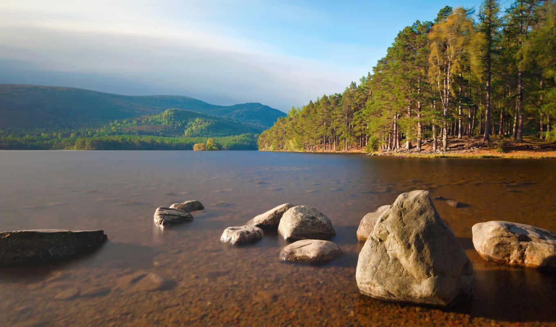 природа, гладь, камни, река, осень, лес, небо, деревья, кнопкой, картинку,