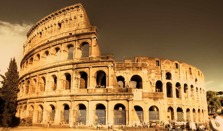 рим, старинный, колизей, старый, город, вид, сказочный,