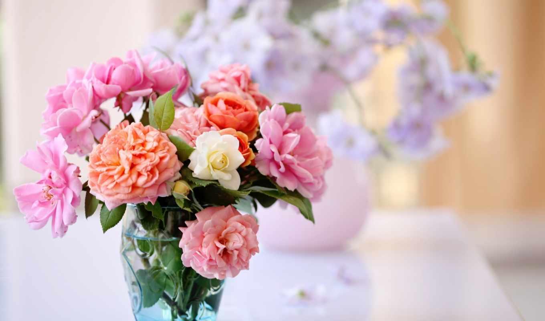 букет, цветы, ваза, розы, взгляд, красивые,