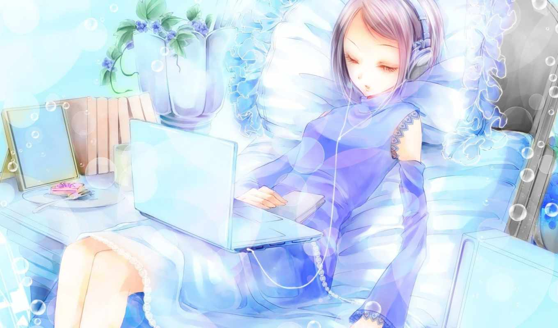 anime, наушники, девушка, музыка, ноутбук, blue, настроение,