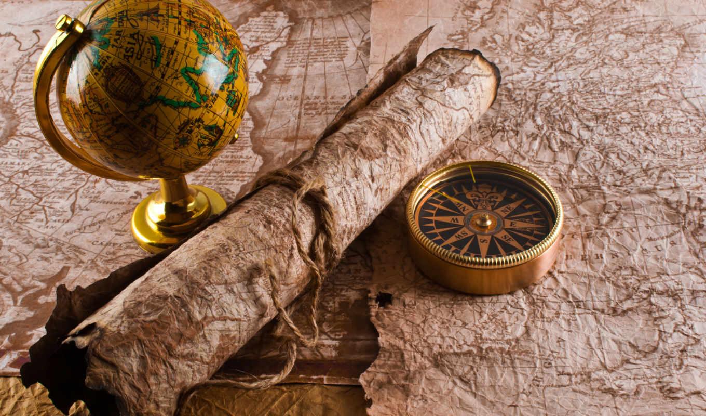 шар, map, веревка, рукопись, compass,