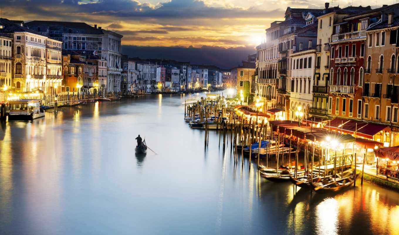 italy, город, venice, закат, освещение, cities,