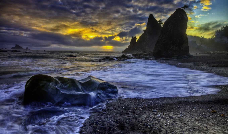 берег, море, скалы, пляж, небо, картинка,