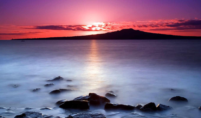 хороший, утро, восход, море,