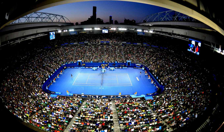 tennis, суд, blue, открыть,