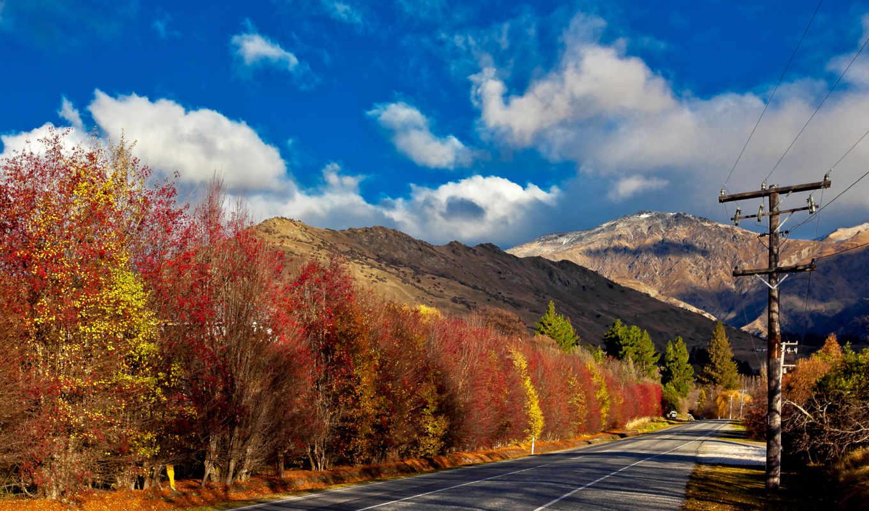 дорога, гора, you, desktop, осень, лес,