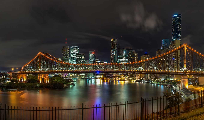 brisbane, австралия, мост, ночь, река,