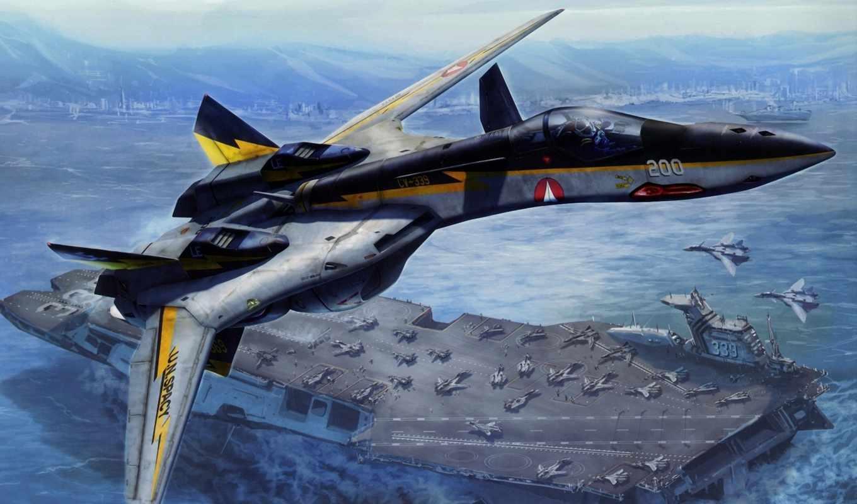 истребитель, обои, самолет, авианосец, корабль, мо