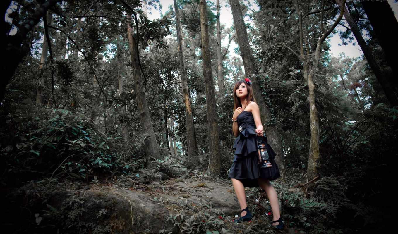 девушка, лесу, темном, exclusive, поделиться, asian, изображения, вернуться,