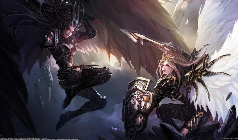 битва, art, оружие, меч, щит, девушки, перья, крылья, chenbo,