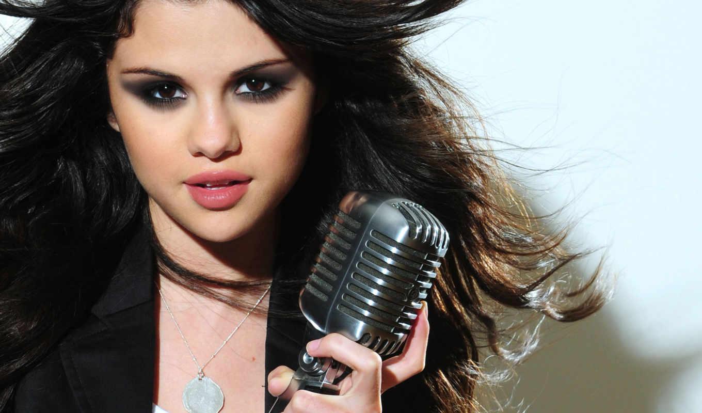 selena, gomez, singer, девушка, микрофон, волосы, селены,