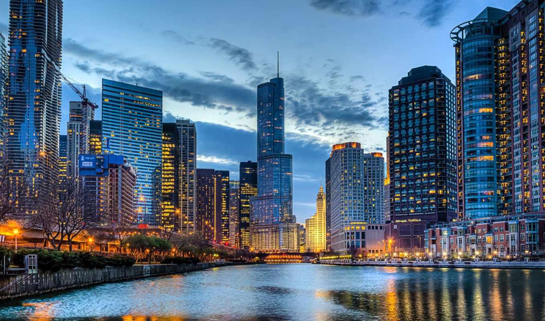 chicago, город, сша, красивые,, пейзажи -, oblaka, города, иллинойс,