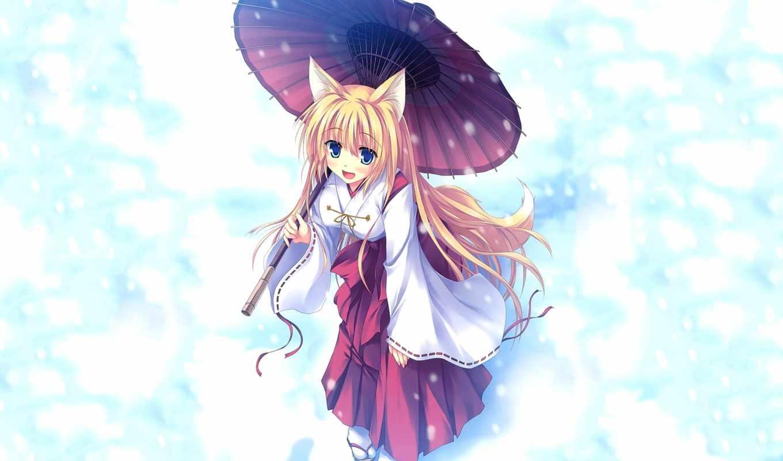 anime, девушка, кот, кимоно, ушки, neko, группа, волосы,