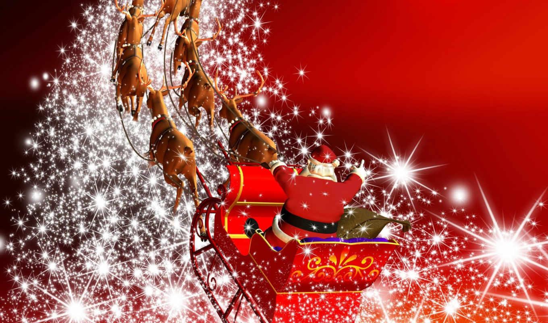 олени, санта, сани, мерцанье, мешок, год, новый, christmas, claus, стало, новым, годом, выше, чтобы, σου, sledge, изображение, за, deers,