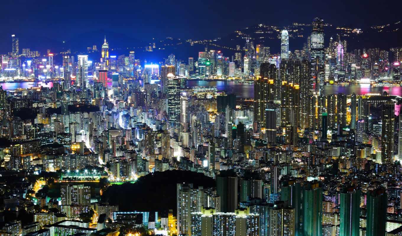 китай, гонконг, азия, вечер, свет, hong, город, ночь,