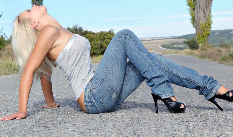 джинсы, девушка, туфли, джинсах,