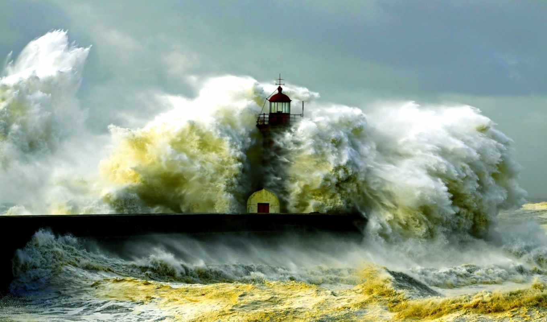 маяк, волны, буря, элемент, брызги, пенка, ocean,